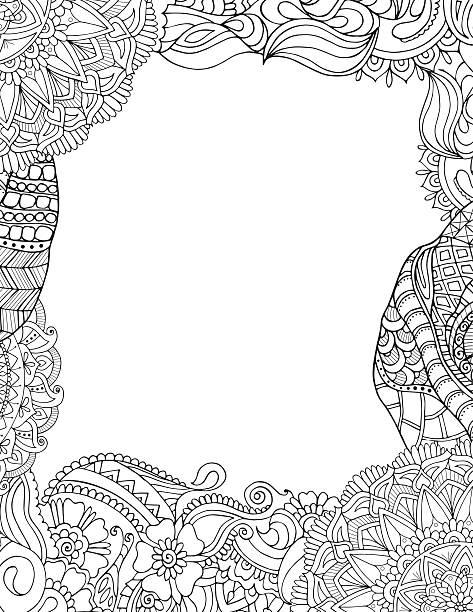 Doodle frame isolated on white vector art illustration