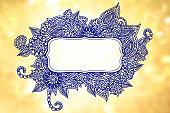 Doodle frame over blurry background
