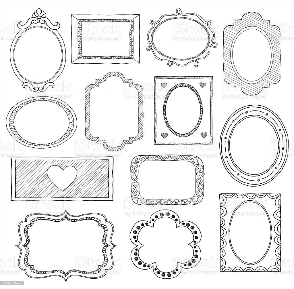 Conjunto de Doodle marco. - ilustración de arte vectorial