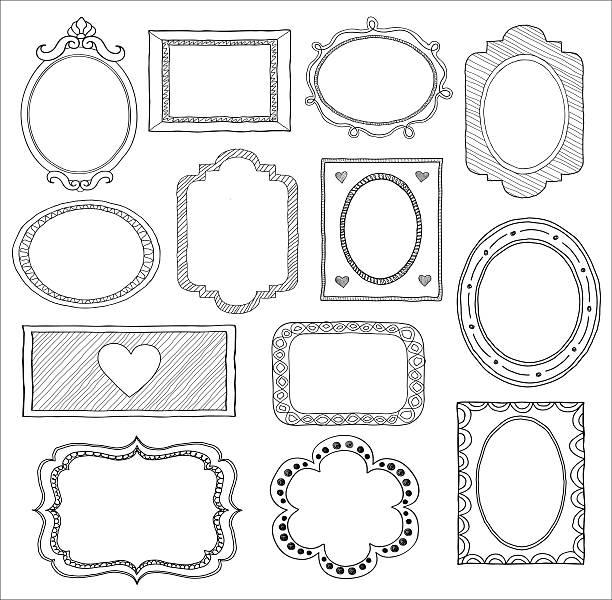 ilustraciones, imágenes clip art, dibujos animados e iconos de stock de conjunto de doodle marco. - marcos de garabatos y dibujados a mano