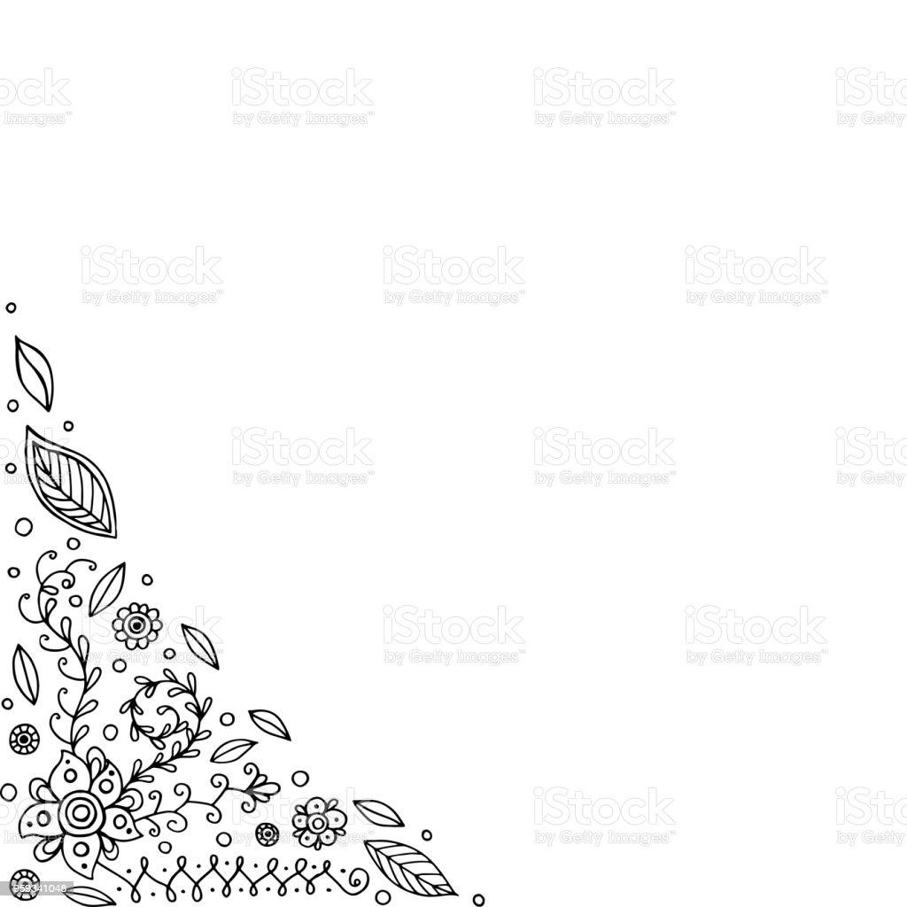 Vetores De Doodle Moldura Com Flores E Folhas Pagina Para Colorir