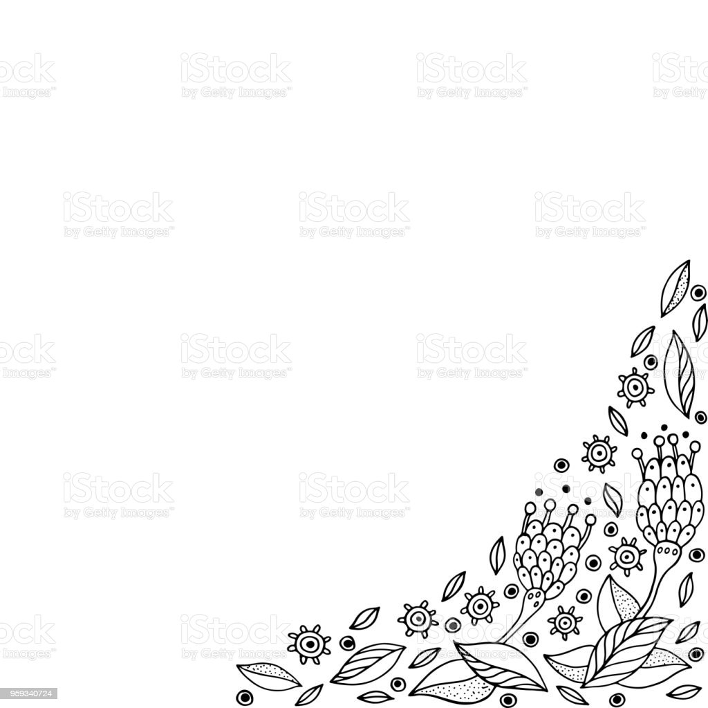 Ilustración De Doodle Frame Con Flores Página Para Colorear Para