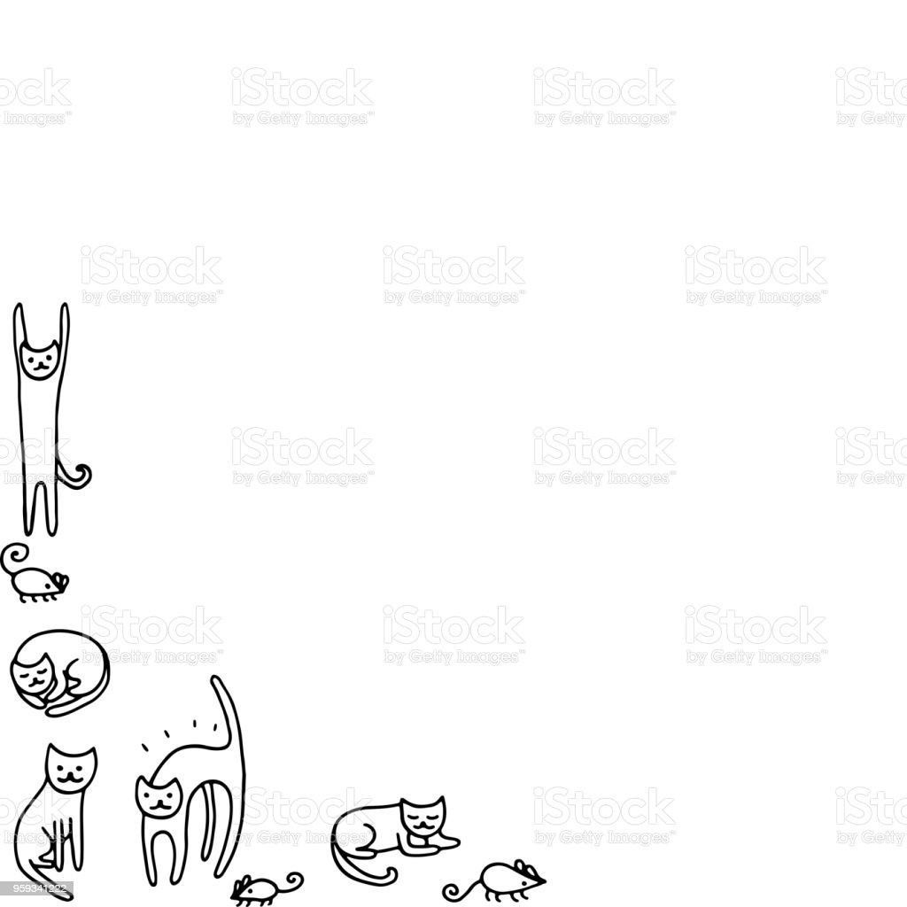 Ilustración de Doodle Frame Con Gatos Divertidos Página Para ...