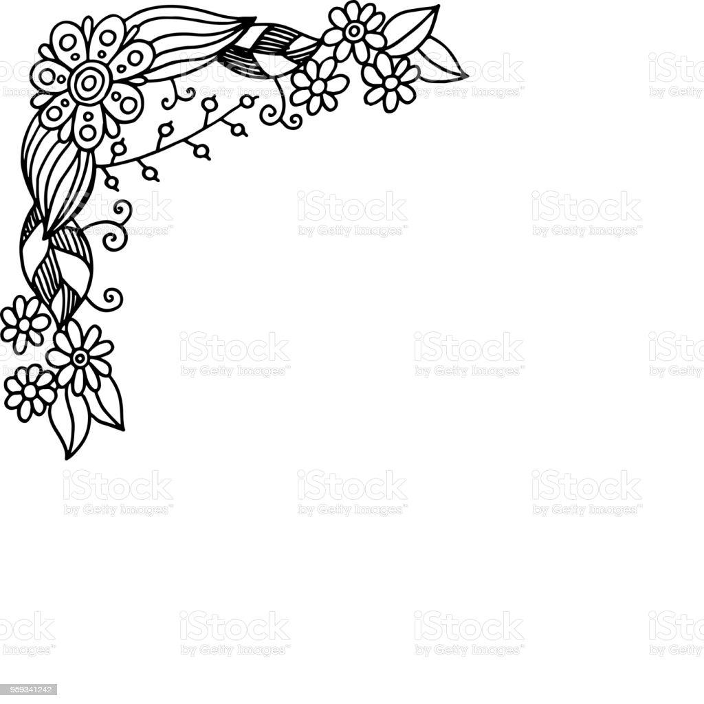 Ilustración De Doodle Frame Con Flores De Verano Página Para