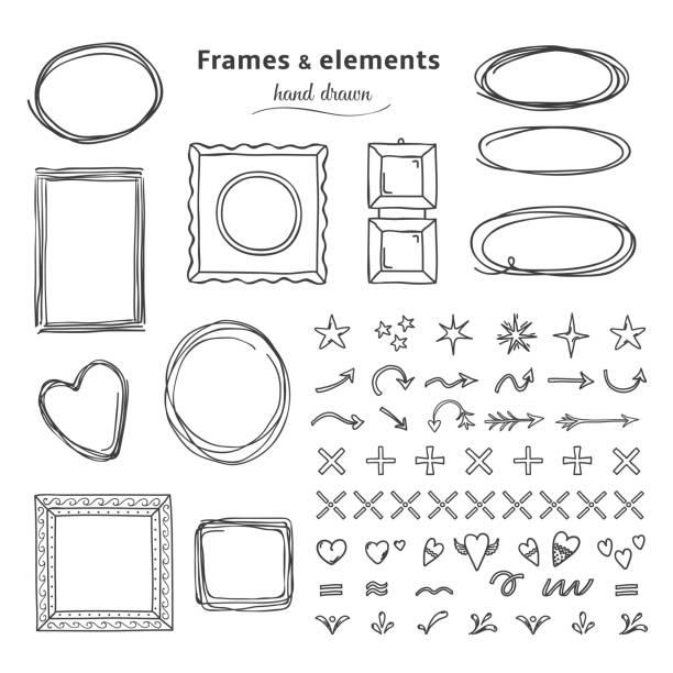 塗鴉框架和元素。手繪方形圓線框, 鉛筆素描圓邊框。向量標題標記框 - 鄉愁 幅插畫檔、美工圖案、卡通及圖標