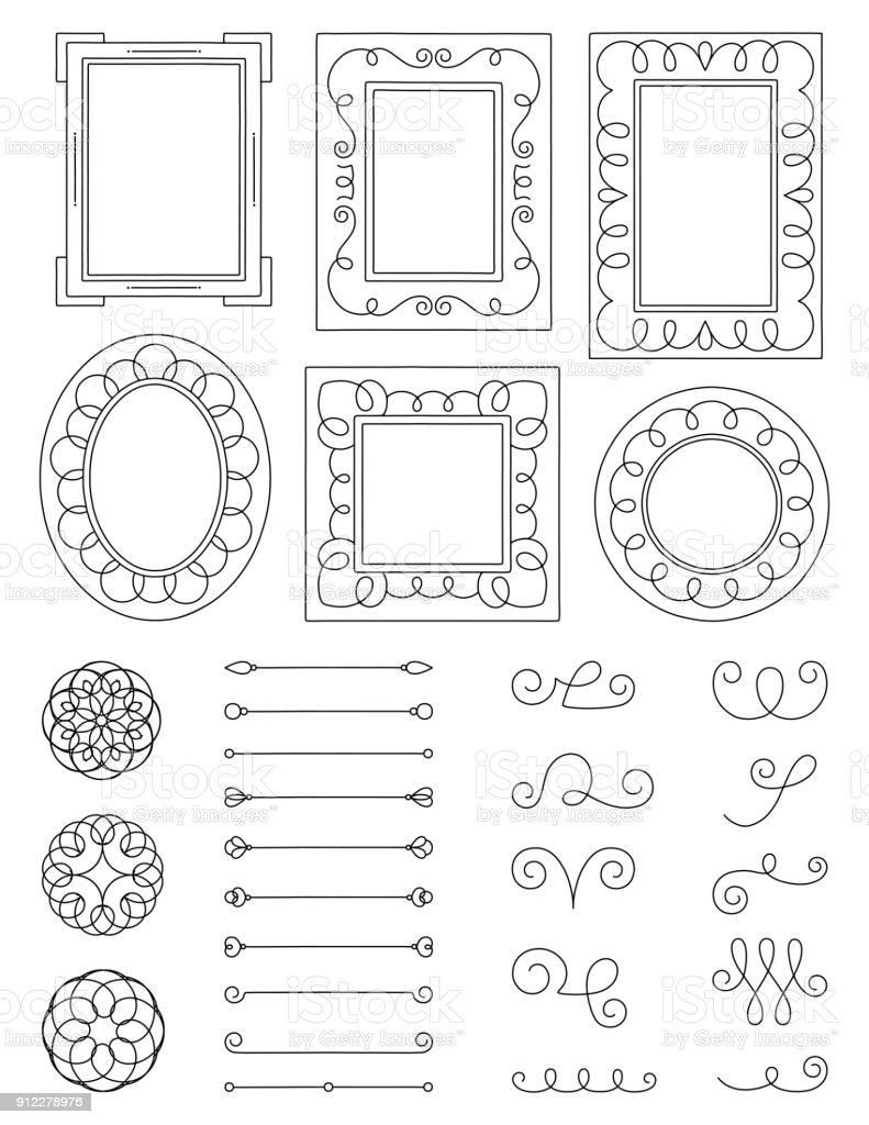 Doodle Frames and Elements vector art illustration