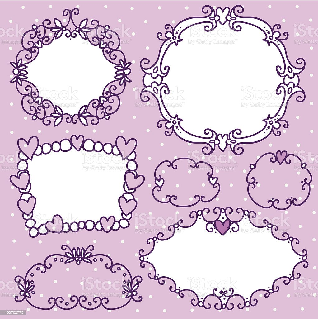 Doodle frames in French style vector art illustration