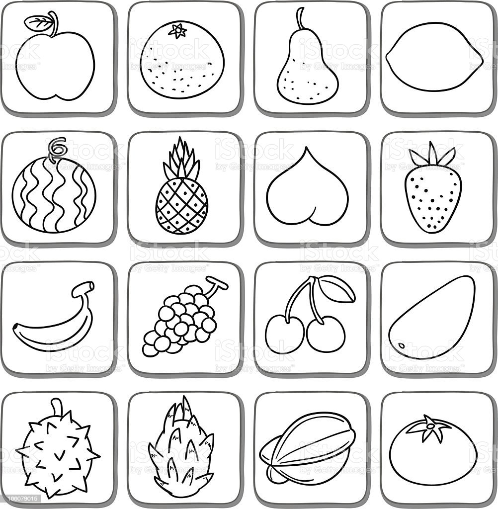 Doodle Fruit Icon Set In Black And White Stock Vector Art