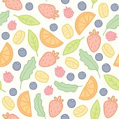 Doodle fruits and berries seamless pattern. Vector illustration