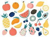 Doodle fruits. Natural tropical fruit, doodles citrus orange and vitamin lemon. Vegan kitchen apple hand drawn, organic fruits or vegetarian food. Vector isolated icons illustration set