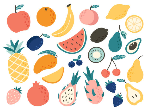 illustrazioni stock, clip art, cartoni animati e icone di tendenza di doodle fruits. natural tropical fruit, doodles citrus orange and vitamin lemon. vegan kitchen apple hand drawn vector illustration - fragole
