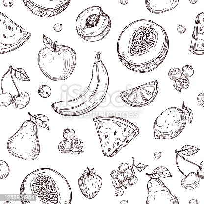 istock Doodle fruits seamless pattern. Sketch fresh organic berries vector endless texture 1288901954