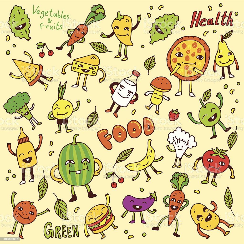 Doodle funny food set. Vector illustration. vector art illustration