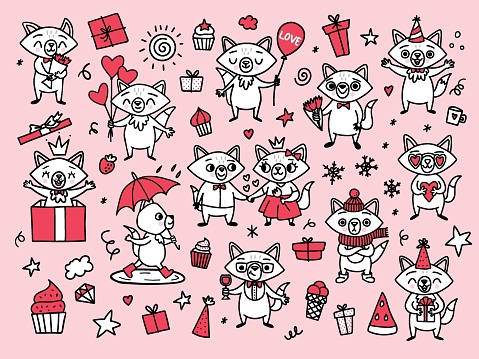 Doodle funny foxes. Happy cartoon characters for valentine day.