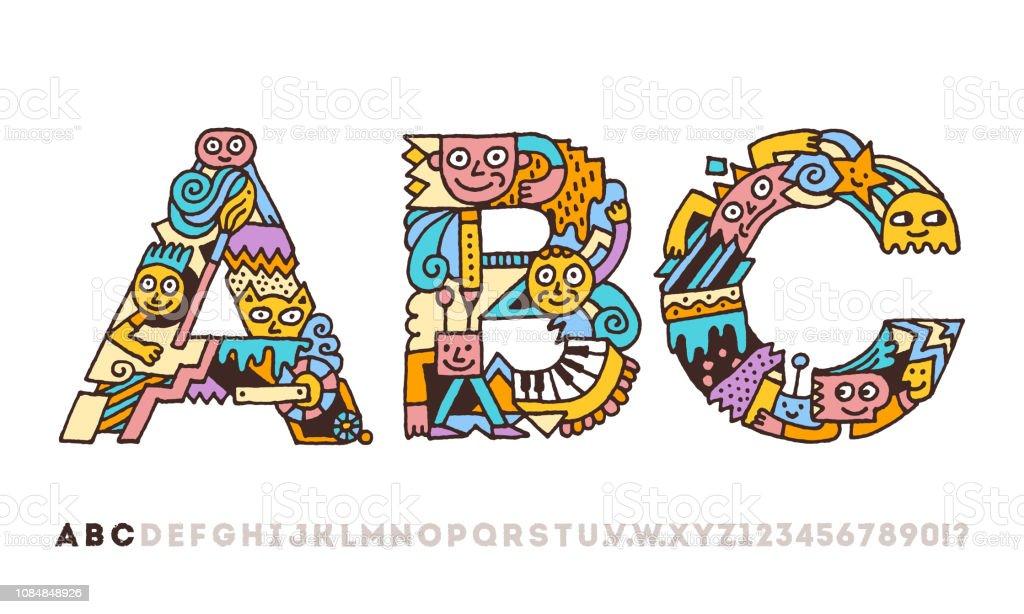 Doodle Alphabet Artistique Graphique Drôle Lettres A B C