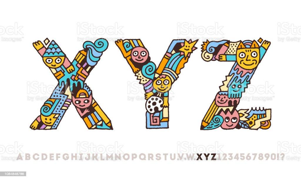 Alphabet Artistique doodle alphabet artistique graphique drôle lettres x y z contour