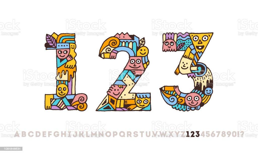 Alphabet Artistique doodle alphabet artistique graphique drôle chiffres 1 2 3 couleur de