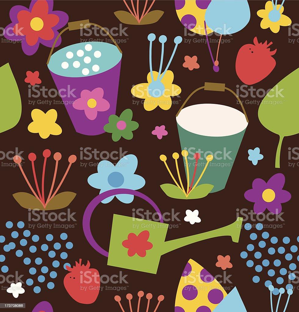 Doodle garden pattern vector art illustration