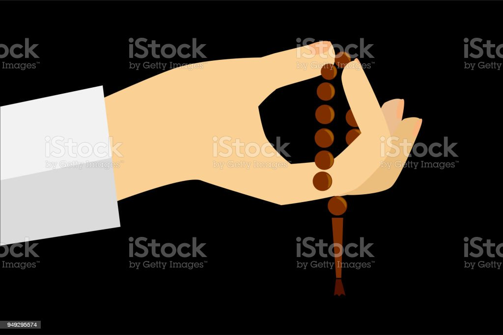 doodle gesture hand exalting for god using prayer beads or tasbih vector art illustration