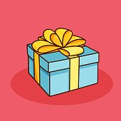 Doodle gift box with bow