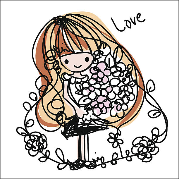 doodle girl cartoon illustration vector file with flowers向量藝術插圖