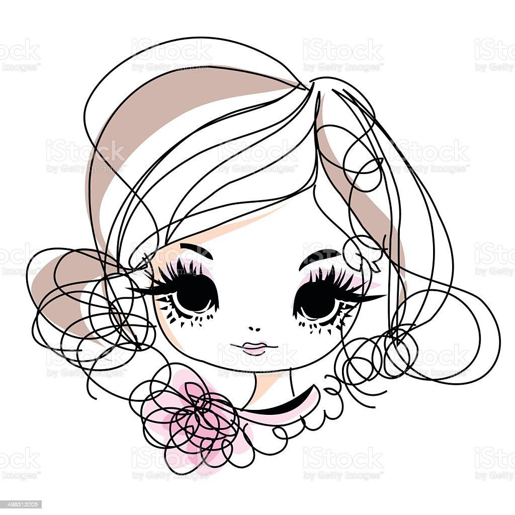 doodle girl cartoon illustration with flowers accessories - 免版稅不完整圖庫向量圖形