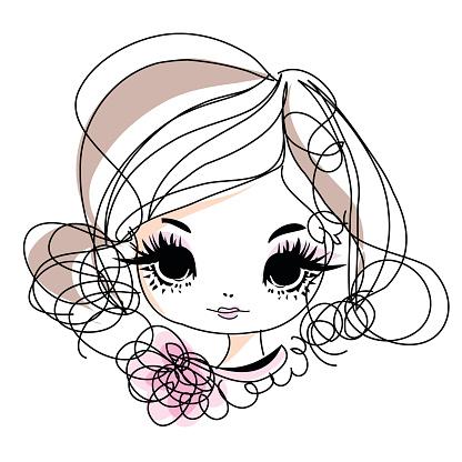 Doodle Girl Cartoon Illustration With Flowers Accessories向量圖形及更多不完整圖片