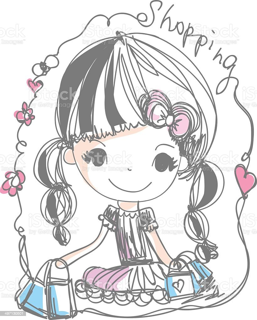doodle girl holding shopping bag cartoon illustration - 免版稅不完整圖庫向量圖形