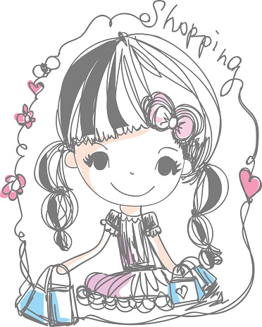 Doodle Girl Holding Shopping Bag Cartoon Illustration向量圖形及更多不完整圖片