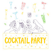 Doodle girls drinking at the bar. Cocktail party. Including doodle set of cocktail drinks. Hand drawn brush vector cartoon illustration for your design.