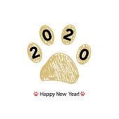Doodle gold paw print with 2020. Happy new year and merry Christmas greeting card