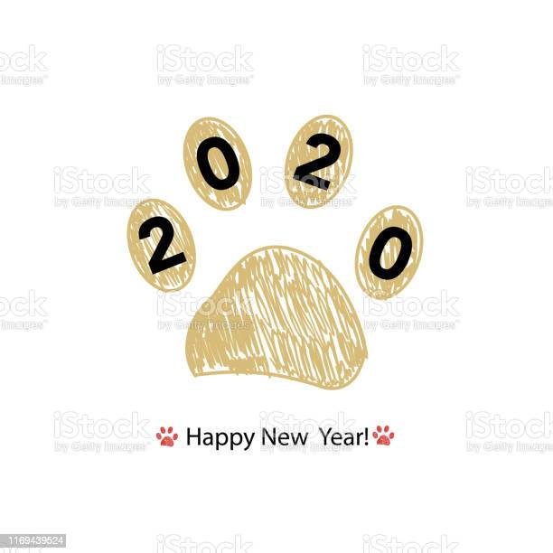 Doodle gold paw print with 2020 happy new year and merry christmas vector id1169439524?b=1&k=6&m=1169439524&s=612x612&h=5cybk0dfybusckjouiguce25rkfgnmqeaozpsxbpero=