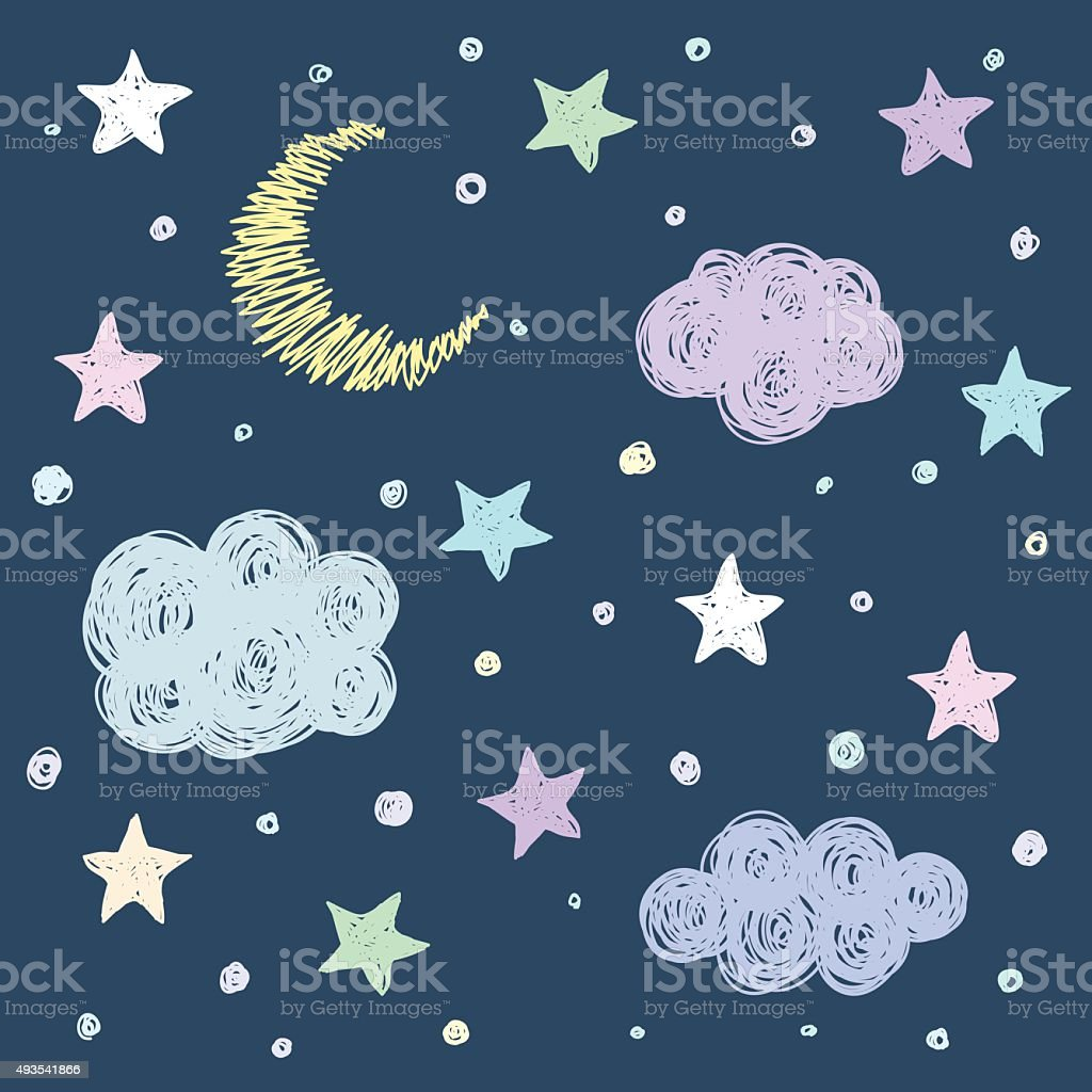 Doodle good night card background template with stars, moon, clouds. vector art illustration