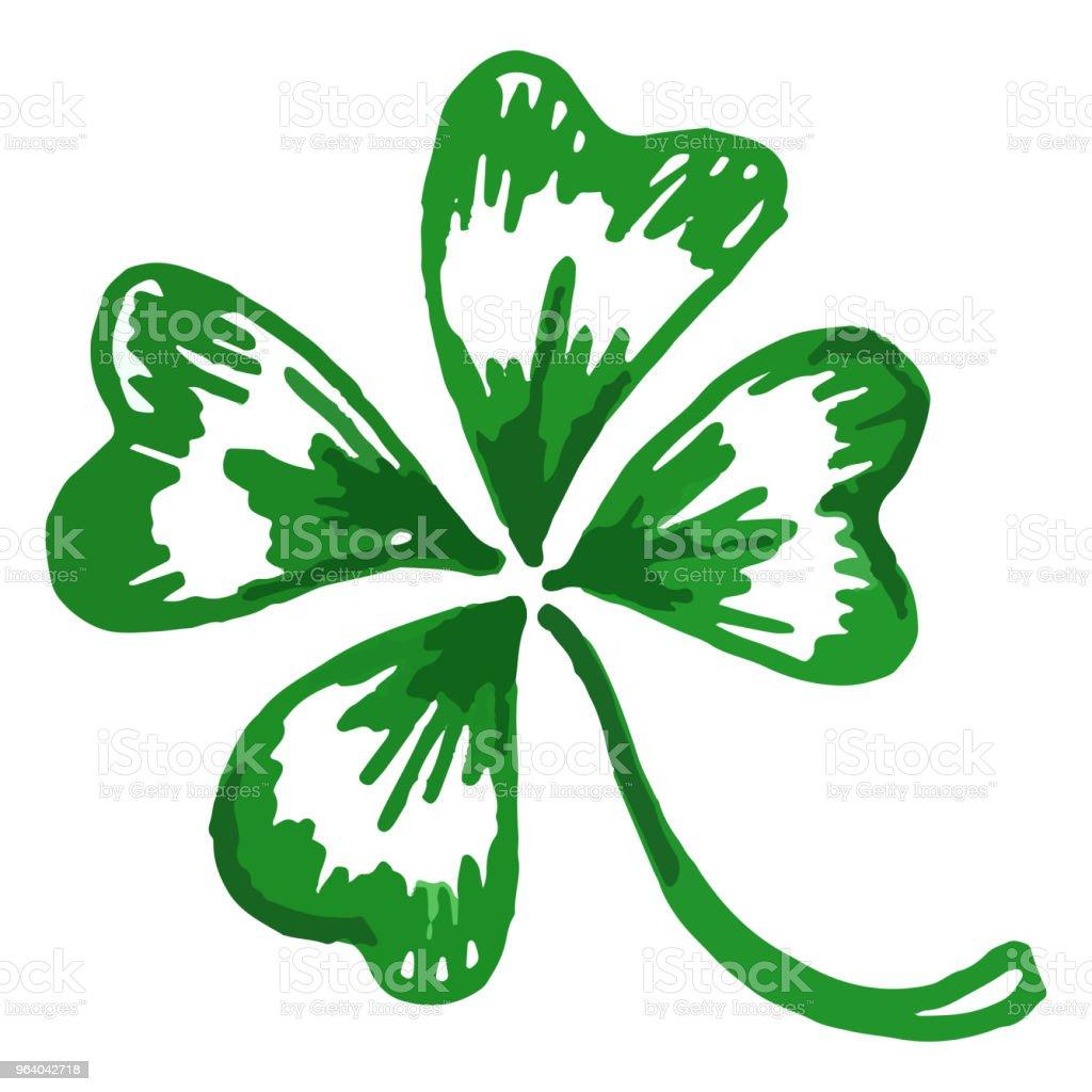 分離された緑のクローバーのシャムロック セントパトリックデーのベクトルを落書き - いたずら書きのロイヤリティフリーベクトルアート
