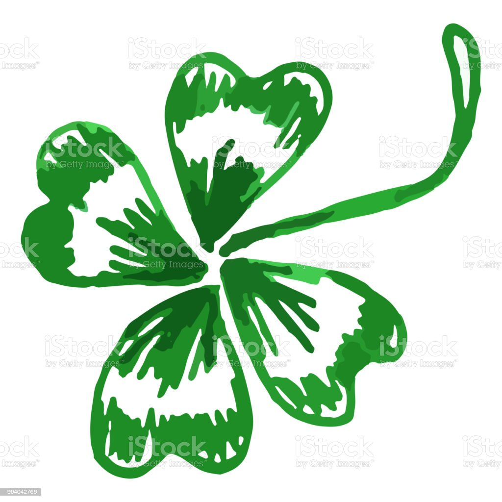 Doodle green clover shamrock Saint Patrick's Day vector isolated - Royalty-free Abstract stock vector