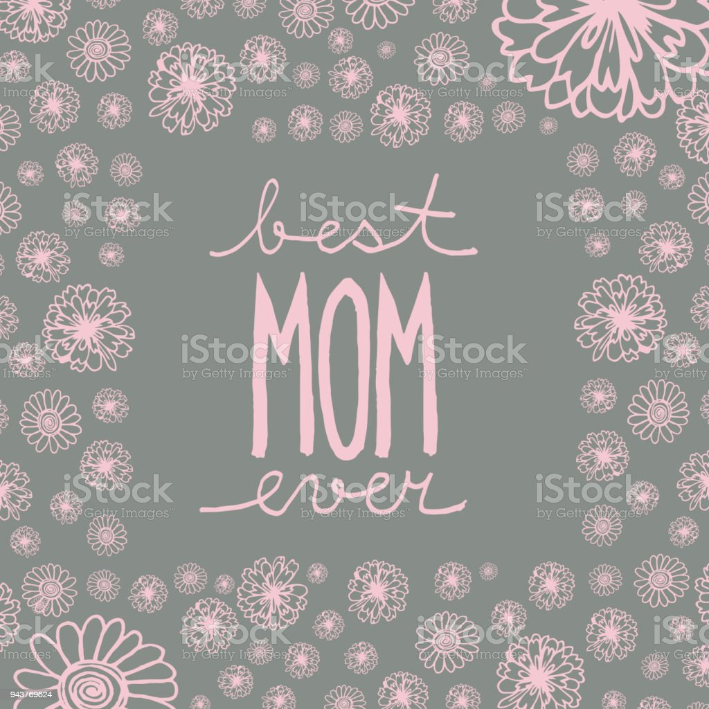 Doodle Greeting Card To Mothers Day With Handwritten Text Best Mom