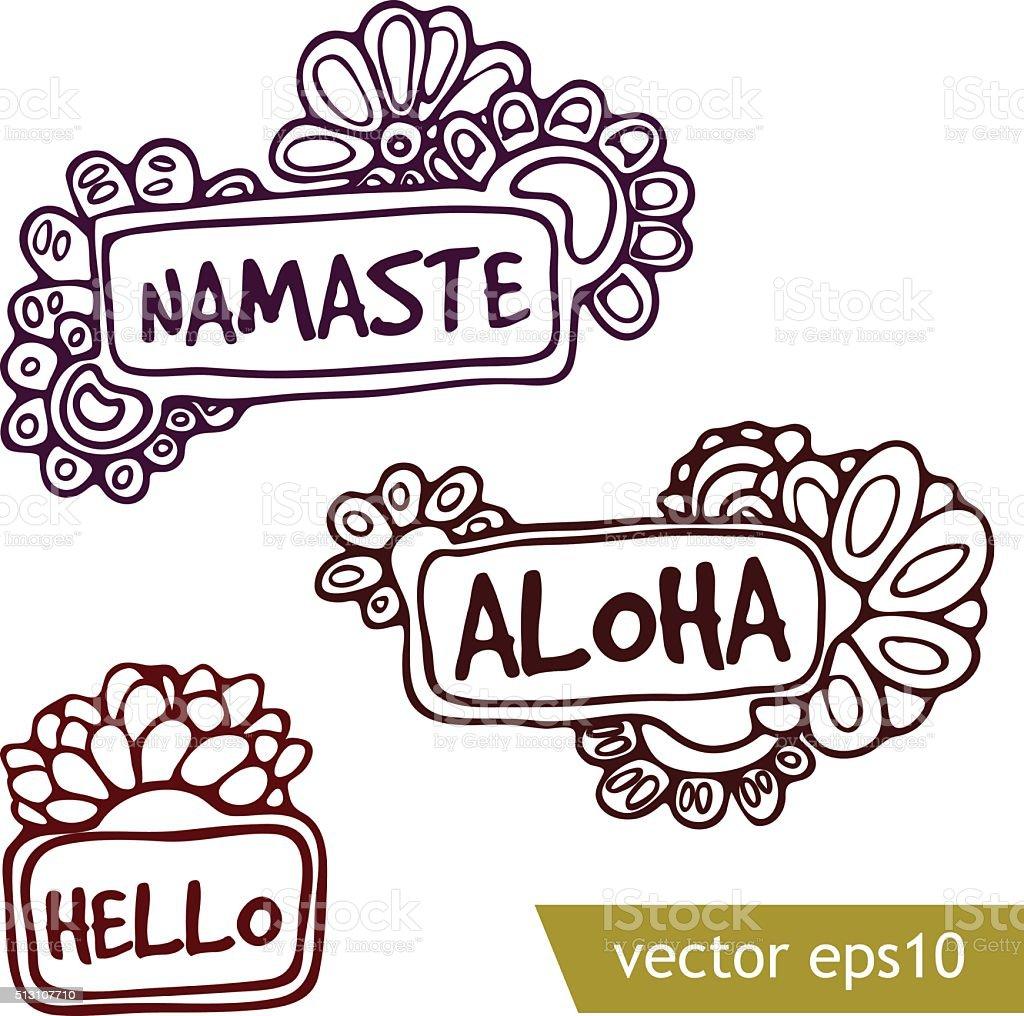 落書き挨拶の文章 Alohaのベクターアート素材や画像を多数ご用意 Istock