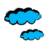 Clouds icon. Hand drawing paint, brush drawing. Isolated on a white background. Doodle grunge style icon. Outline, cartoon
