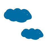 Clouds icon. Decorative. Hand drawing paint, brush drawing. Isolated on a white background. Doodle grunge style icon. Outline icon, cartoon illustration