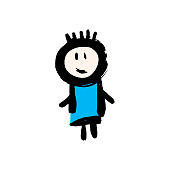 Hand drawing paint, brush drawing. Isolated on a white background. Doodle grunge style icon. Boy icon