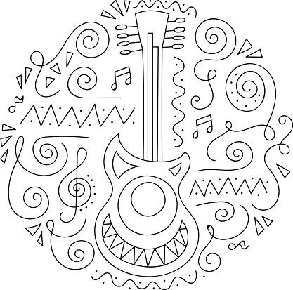 Doodle Gitar Caz Festivali Boyama Sayfasi Stok Vektor Sanati