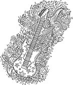 doodle guitar, neat and detailed strokes - vector illustrations