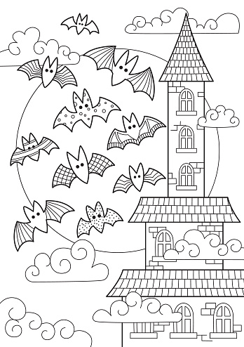 Doodle Halloween coloring book page spooky castle and bats on full moon. Anti-stress for adults and children in zentangle style. Black and white contour illustration