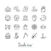 Hand Drawn Doodle Icon Set.