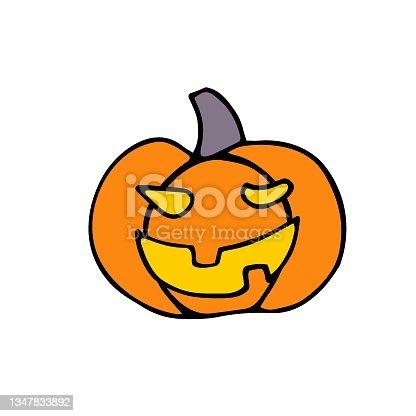 istock Doodle Halloween scary orange pumpkin Vector Illustration 1347833892