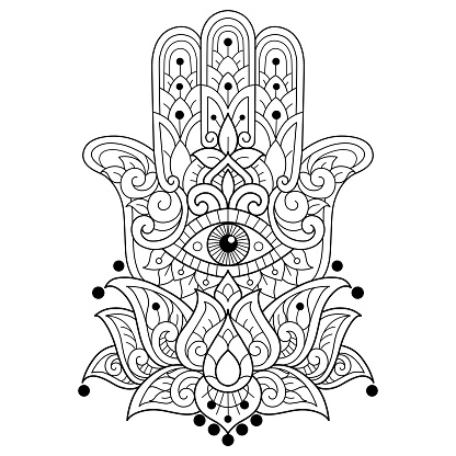 doodle Hamsa tangles adult coloring page, Illustration  style.