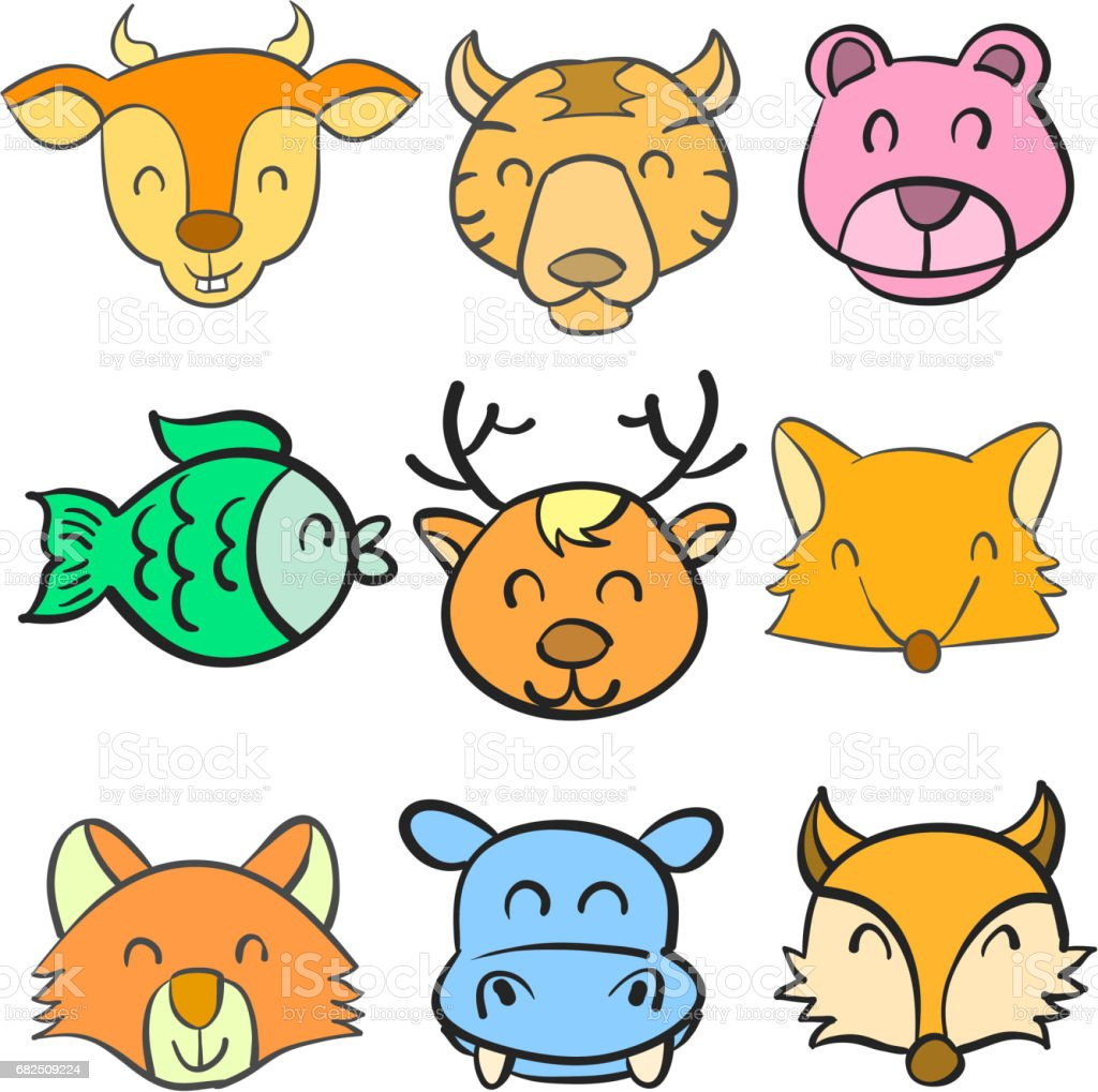 Doodle hand draw animal head colorful royalty-free doodle hand draw animal head colorful stock vector art & more images of animal