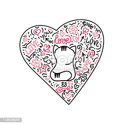 Doodle hand drawing. Cute cat and heart . Vector illustr