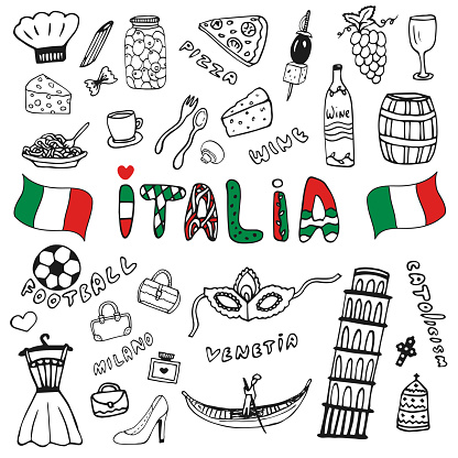 Doodle hand drawn collection of Italy icons. Italy culture elements for design. Vector travel set. Handwriting Italia lettering in italian language - Italy