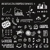 Doodle hand drawn info graphic elements and font (white on black)